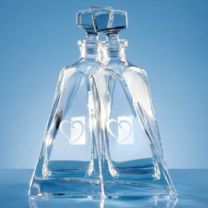 Engraved Crystal Lovers Decanters - Image 1