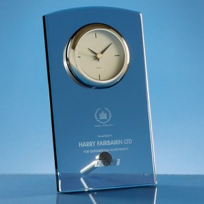Engraved Graphite Glass Clock  - Image 1