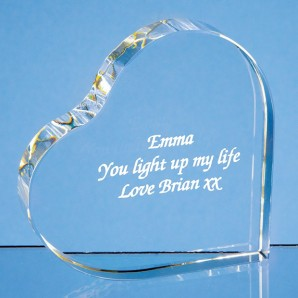 Engraved Heart Shaped Crystal Block - Image 1