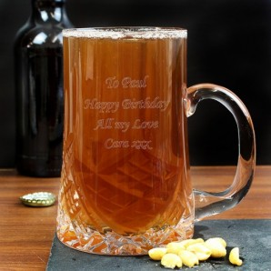 Lead Crystal Panel Tankard Engraved - Image 1