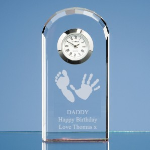 Personalised Handprint Crystal Clock - Image 1