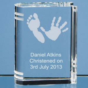 Personalised Hand Print Crystal Book - Image 1