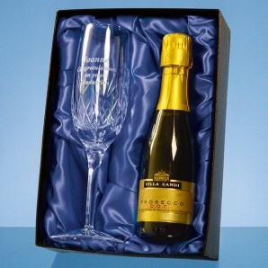 Personalised Lead Crystal Champagne Flute With Champagne Set - Image 1