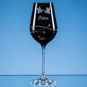 Engraved Onyx Black Diamante Crystal Swirl Wine Glass - Image 1