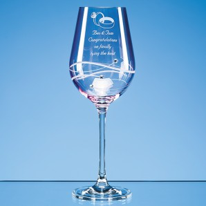 Engraved Pink Crystal Diamante Wine Glass - Image 1