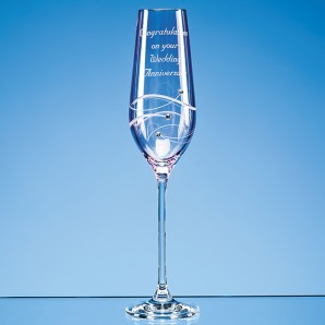 Engraved Pink Crystal Diamante Champagne Flute - Image 1