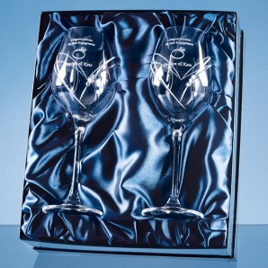 Engraved Twin Heat Crystal Wine Glasses Set - Image 1
