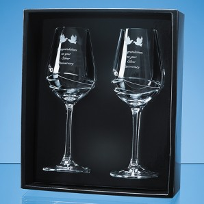 Engraved Dimante Crystal Swirl Wine Glass Set - Image 1
