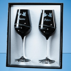Engraved Black Crystal Wine Glasses Gift Set - Image 1