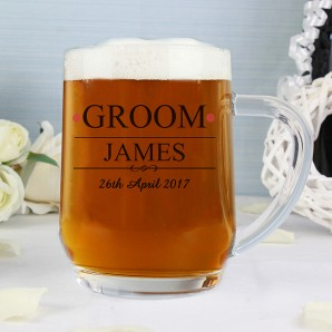 Engraved Groom Glass Tankard  - Image 1