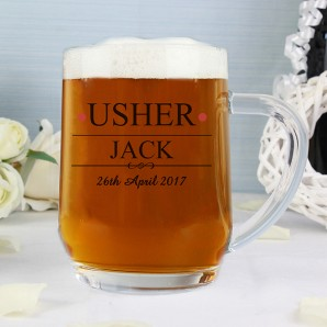 Engraved Usher Glass Tankard - Image 1