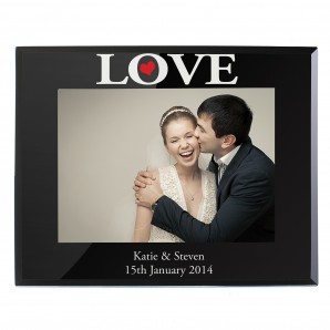 Personalised Love Black Glass Photo Frame - Image 1