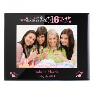 Personalised 16th Birthday Glass Photo Frame - Image 1