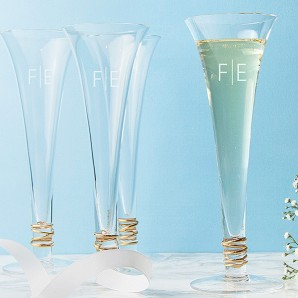 Engraved Monogrammed LSA Gold Flutes, Set of 4 - Image 1