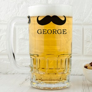 Personalised Moustache Glass Tankard - Image 1