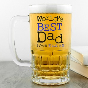 Personalised World's Best Dad Glass Tankard - Image 1