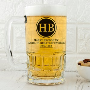 Personalised Glass Tankard Dad Monogram Design - Image 1