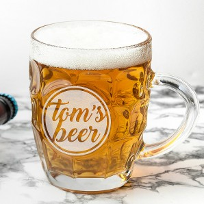 Personalised Name Dimpled Beer Glass - Image 1