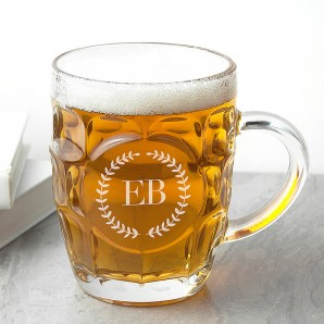 Wreath Monogrammed Dimpled Beer Glass - Image 1