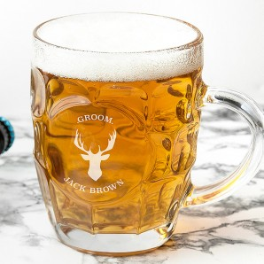 Personalised Stag Dimpled Beer Glass - Image 1