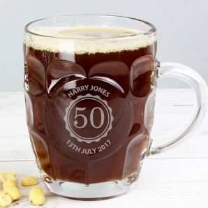 Engraved Age Dimpled Glass Beer Tankard - Image 1