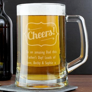 Personalised Cheers Glass Beer Tankard - Image 1
