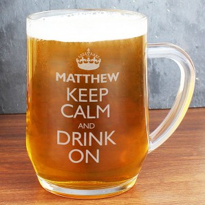 Personalised Keep Calm Engraved Beer Tankard - Image 1