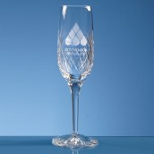 Engraved Lead Crystal Champagne Flute