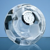 Engraved Optical Crystal Football Clock