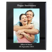 Black Glass Engraved Photo Frame