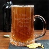 Lead Crystal Panel Tankard Engraved