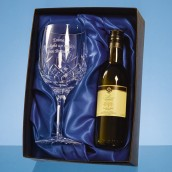 Personalised Crystal Glass And Wine Set