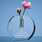Personalised Round Crystal Block Bud Vase