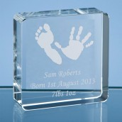 Personalised Hand Print Crystal Block