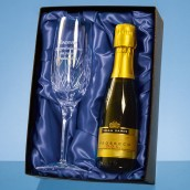 Personalised Lead Crystal Champagne Flute With Champagne Set