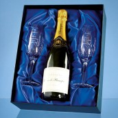 Personalised Champagne Flutes And Champagne Gift Set