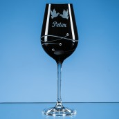 Engraved Onyx Black Diamante Crystal Swirl Wine Glass