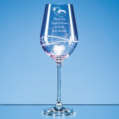 Engraved Pink Crystal Diamante Wine Glass