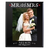 Personalised Mr And Mrs Black Glass Photo Frame