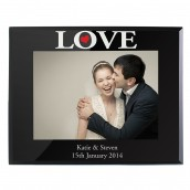 Personalised Love Black Glass Photo Frame