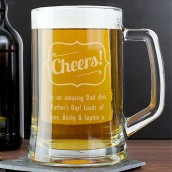 Personalised Cheers Glass Beer Tankard